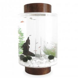 Norrom Aquarium with Dark Mahogany Lid and Base (White stones)